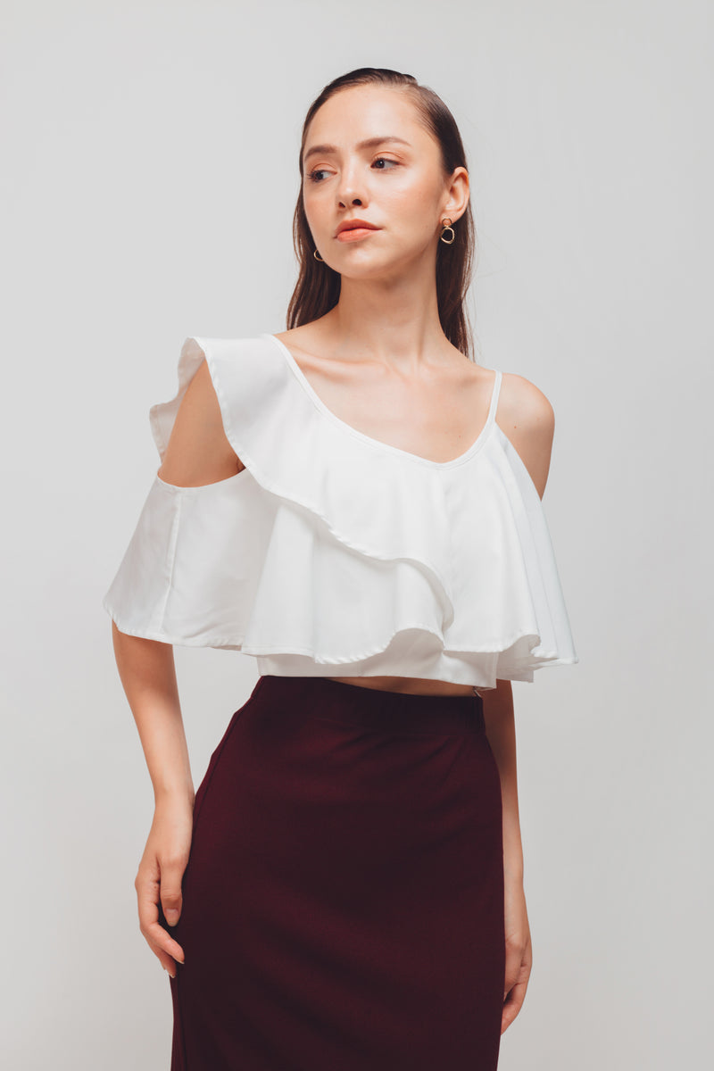Asymmetrical Off-shoulder Flutter Sleeves Top In White