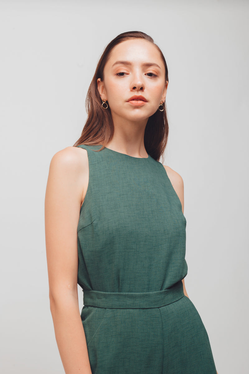 Textured Tank Top With Curved Hem In Sage Green