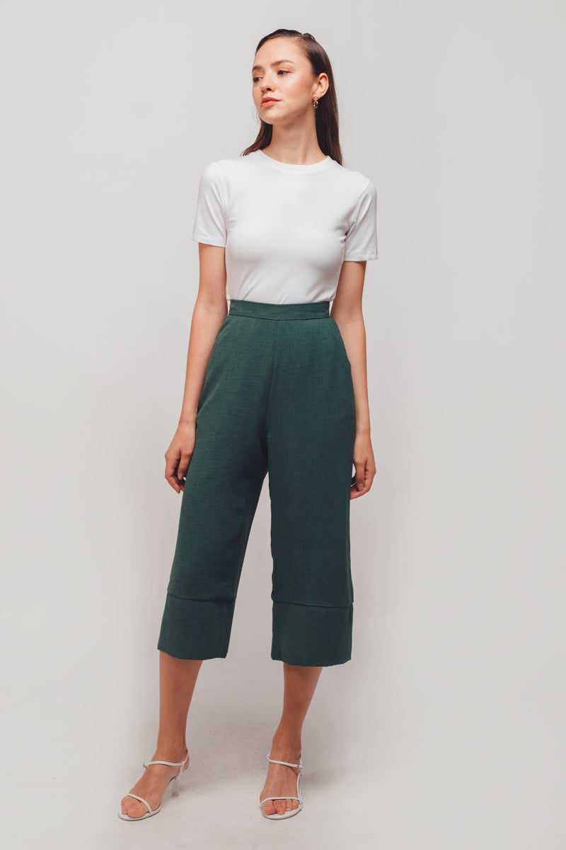 Textured Culottes With Hem Detailing In Sage Green