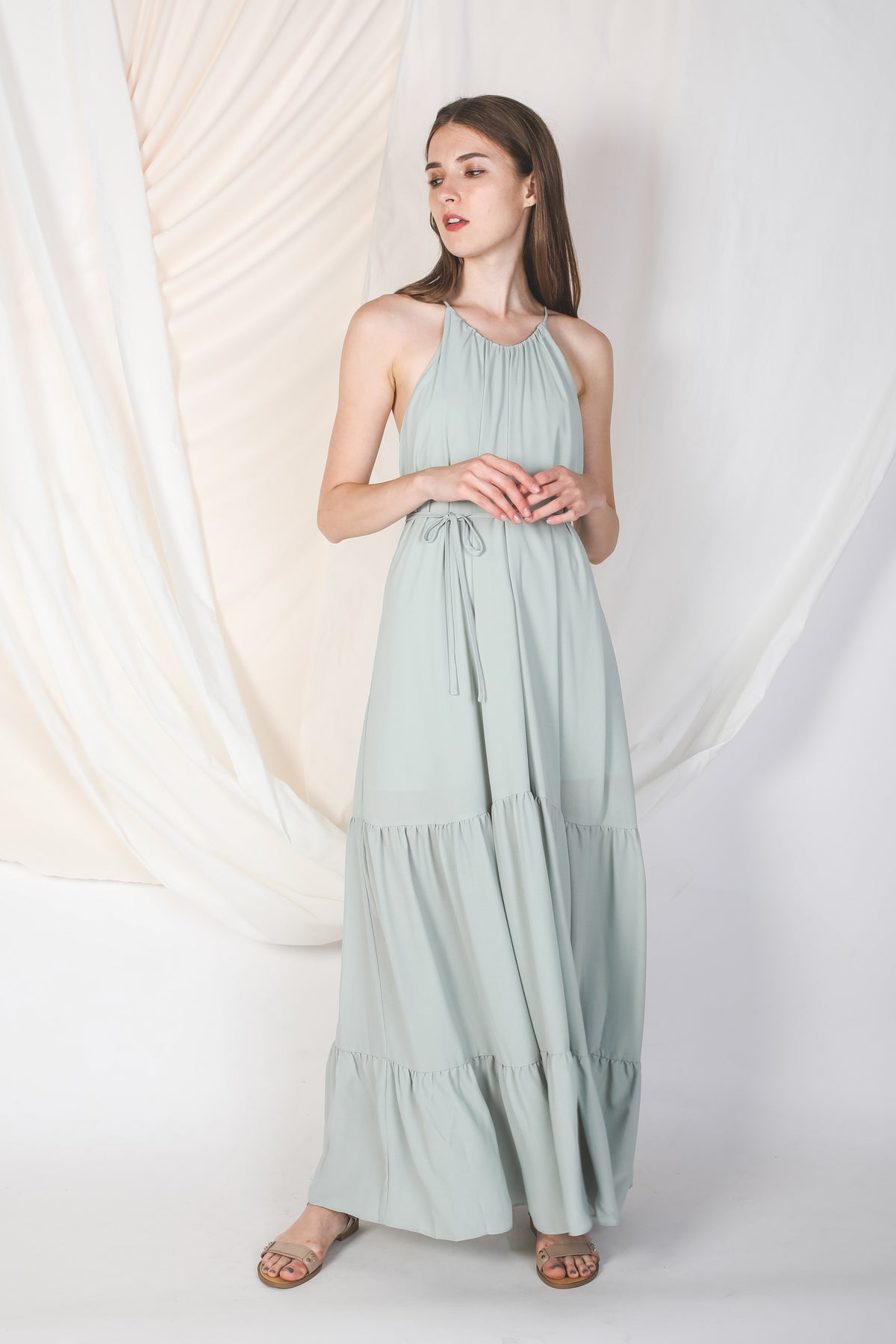 Tiered A-Line Dress In Jade