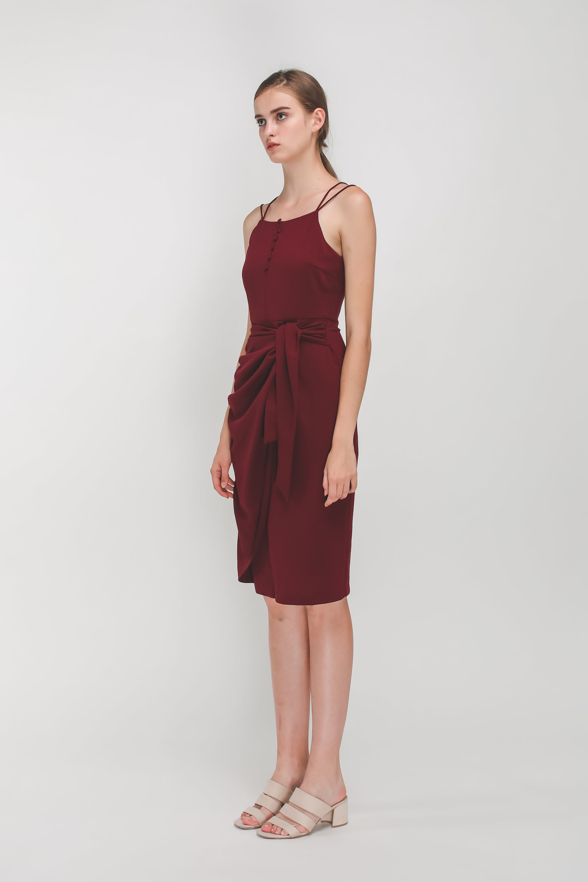 Button Down Wrap Dress In Maroon