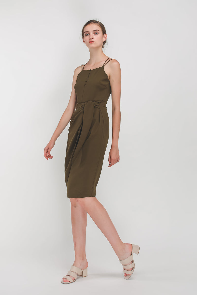 Button Down Wrap Dress In Olive