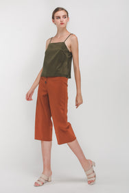 Straight Neckline Cami In Olive