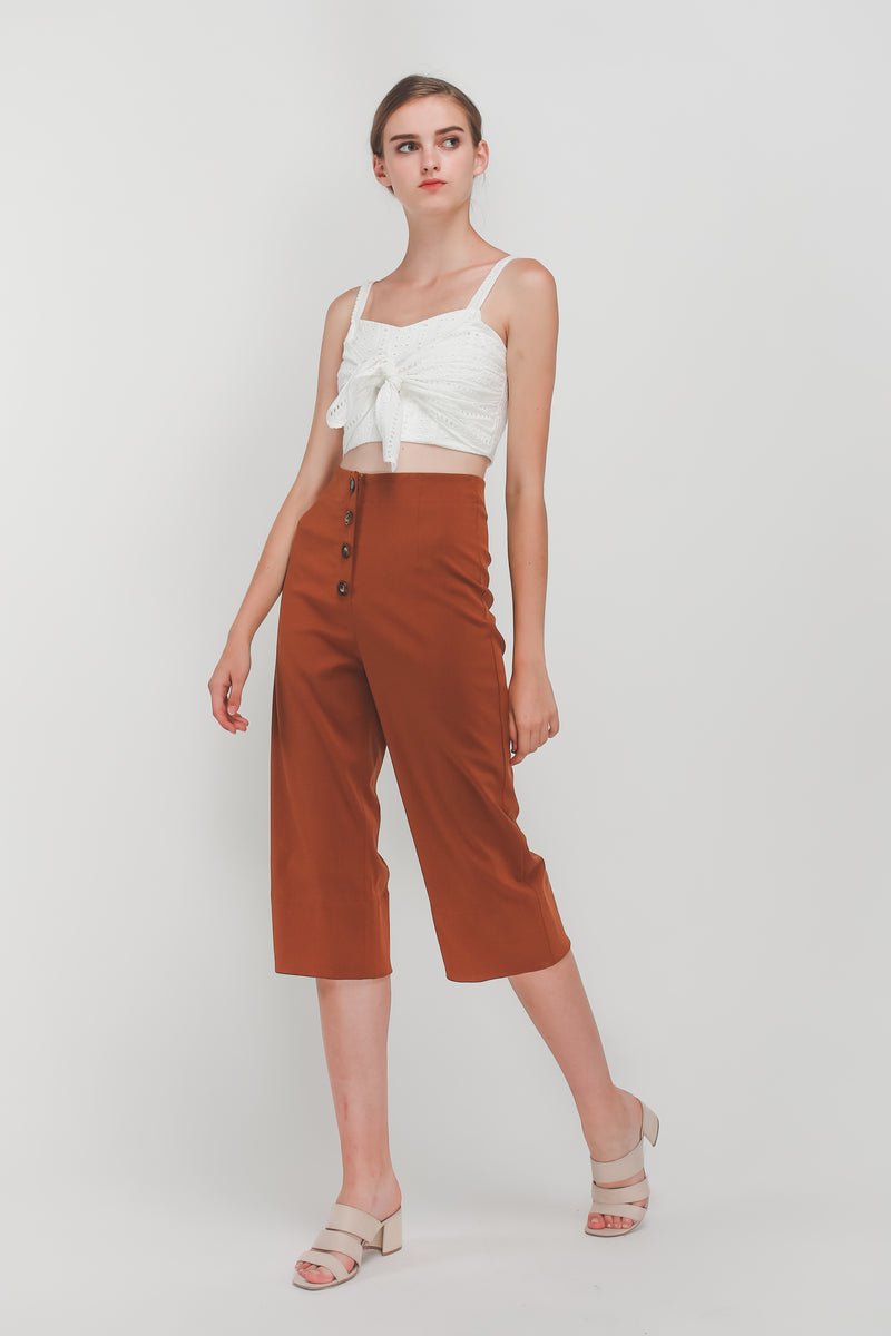 Tortoise Shell Button Down Culottes In Camel