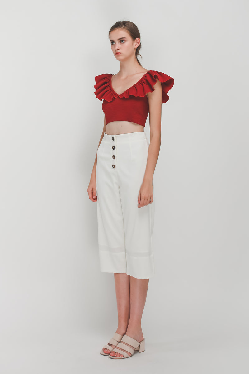 Tortoise Shell Button Down Culottes In White