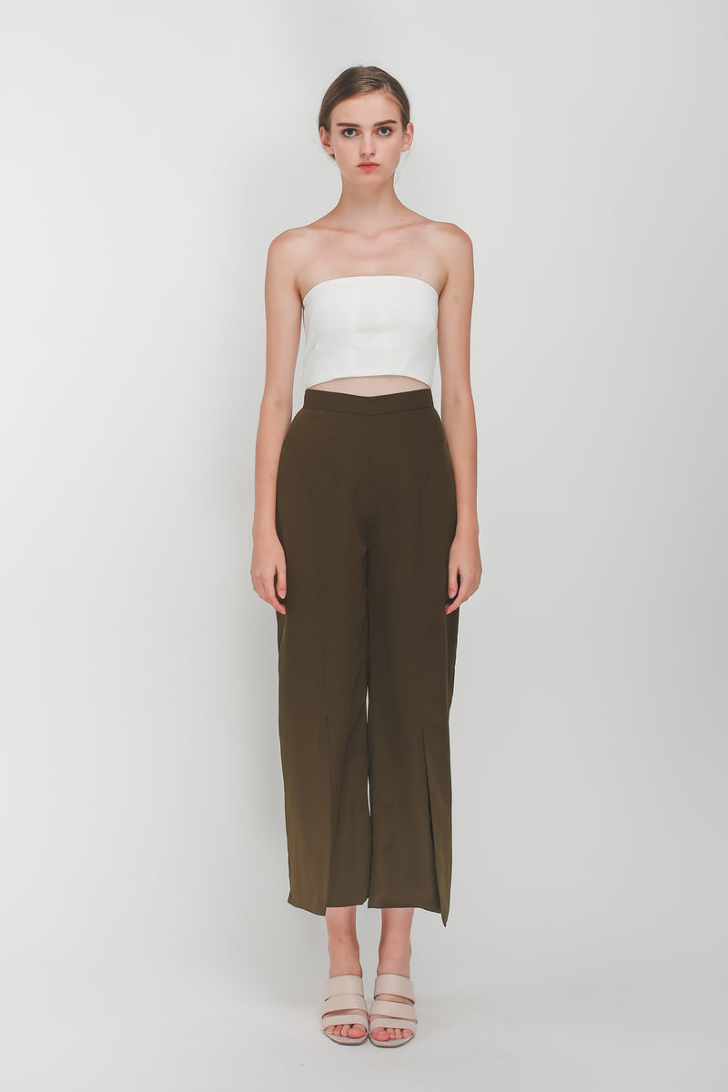Front Slit Wide Legged Pants In Olive