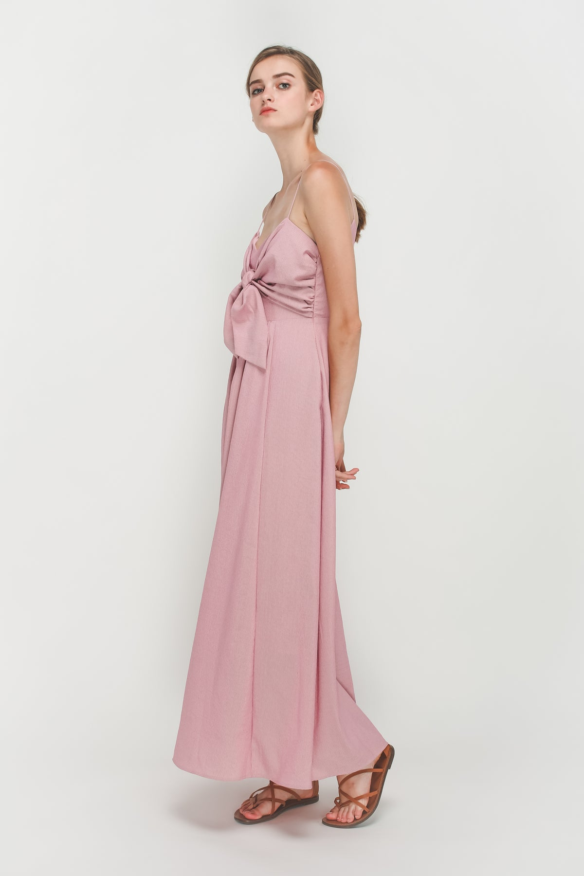 Stripe Knotted Maxi Dress In Pink