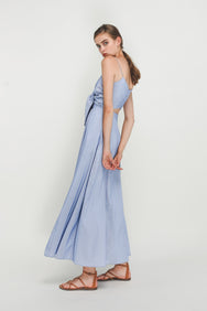 Stripe Knotted Maxi Dress In Blue