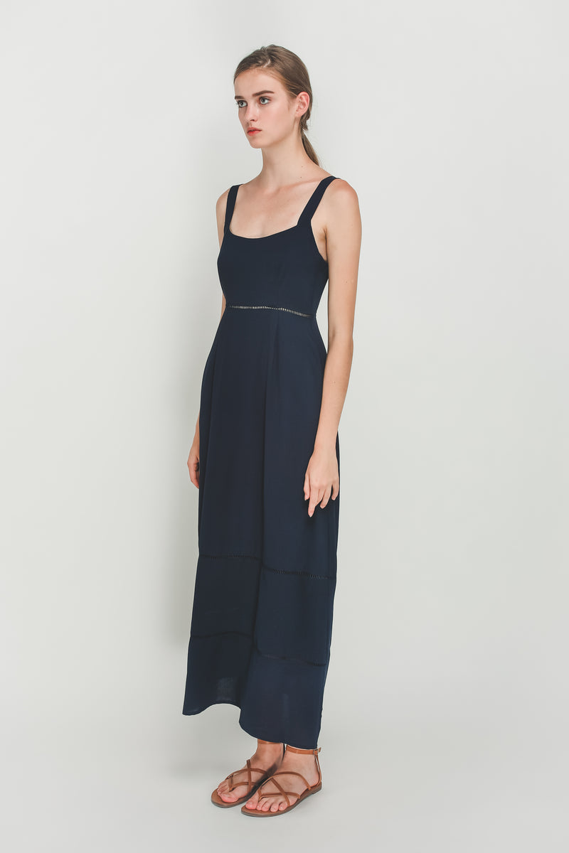 Eyelet Tiered A-Line Maxi Dress In Navy Blue