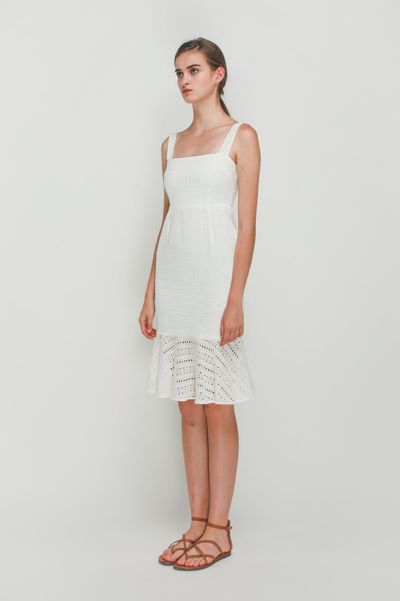 Crotchet Flare Hem Midi Dress In White