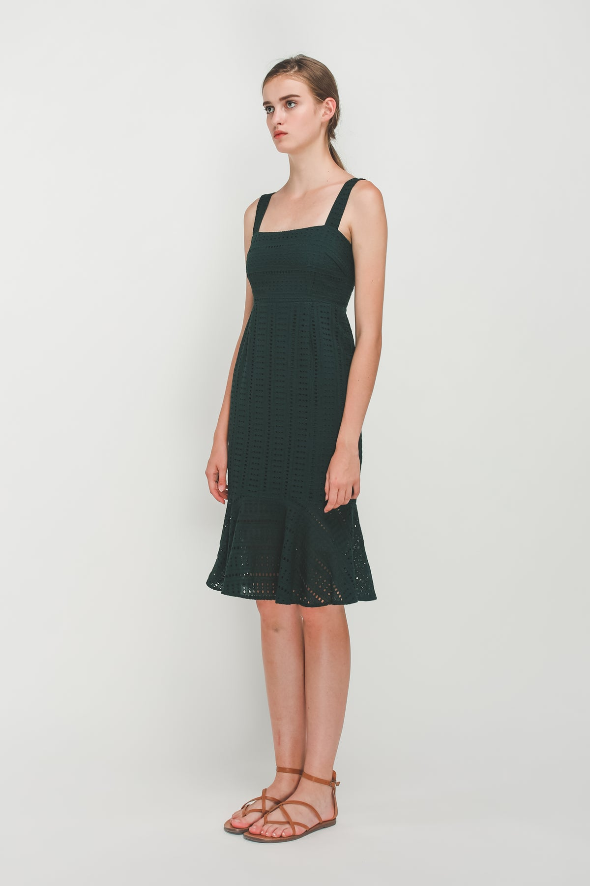 Crotchet Flare Hem Midi Dress In Forest Green
