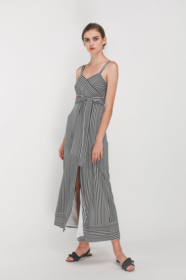 Tie Wrap Dress In Black/White Stripes