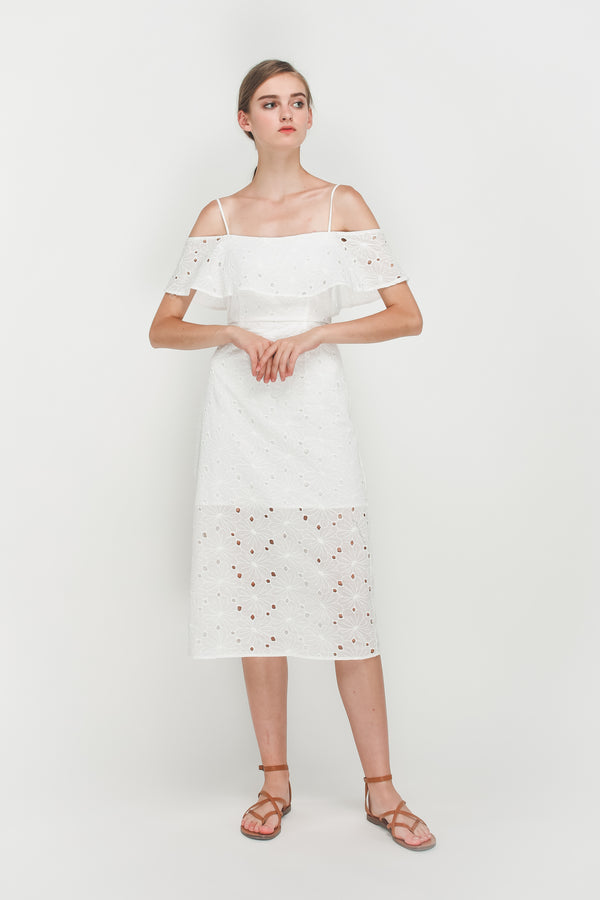 Crotchet Off Shoulder Midi Dress In White