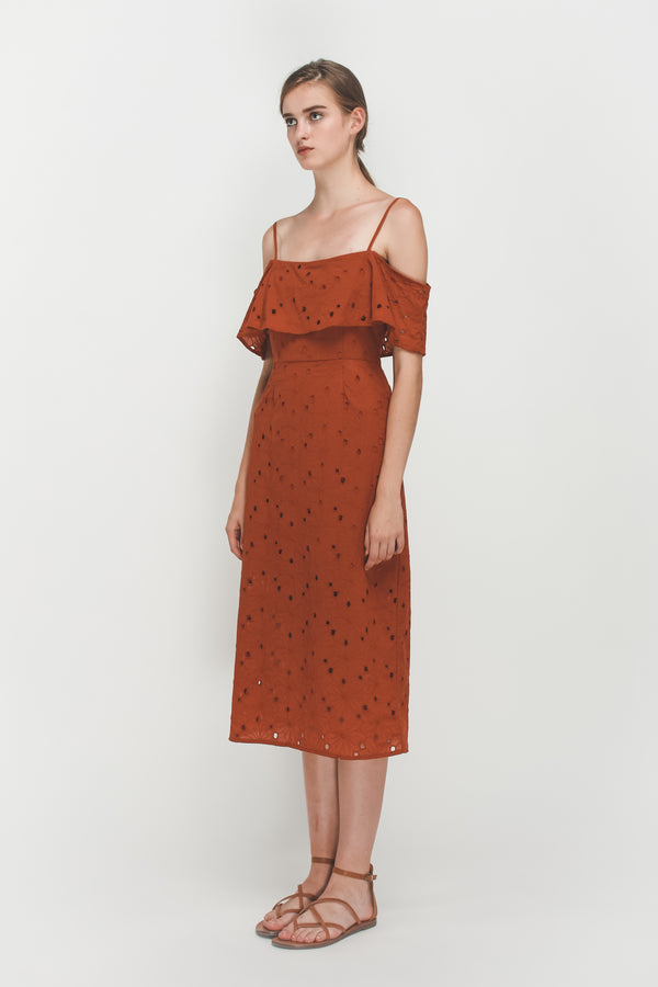 Crotchet Off Shoulder Midi Dress In Burnt Orange