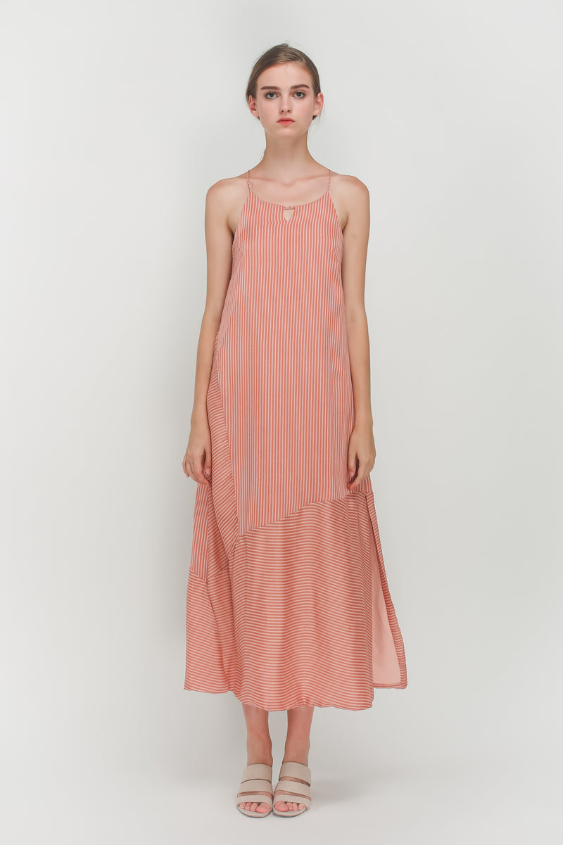 High Neck Panel Maxi Dress In Pink