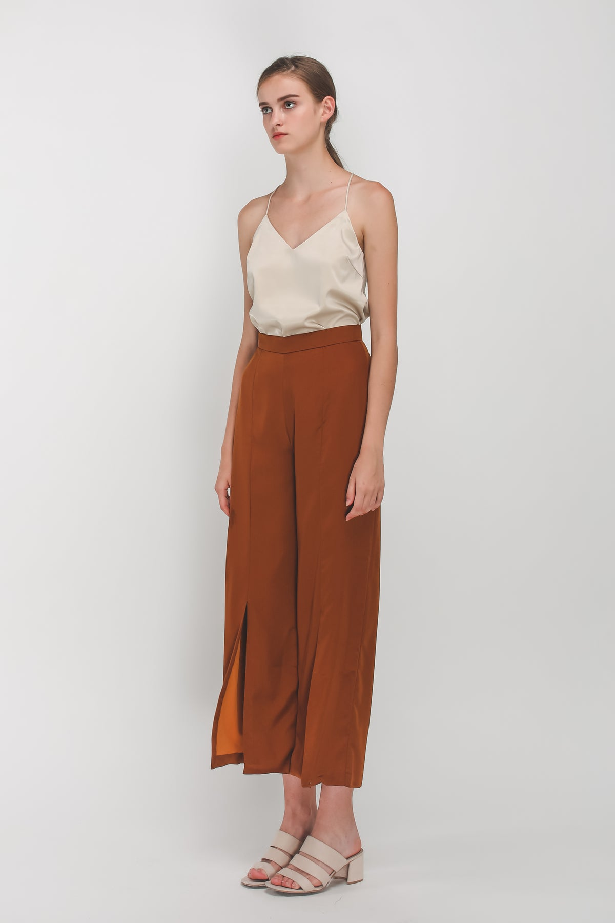 Front Slit Wide Legged Pants In Camel