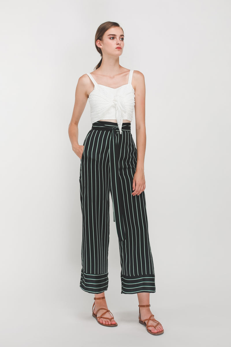 Knotted Wide Legged Pants In Black/Green Stripes