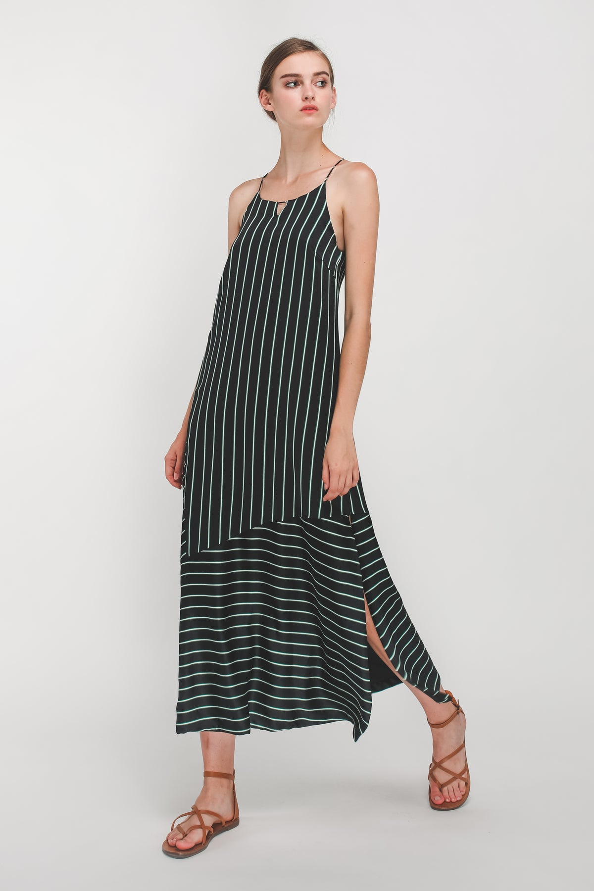 High Neck Panel Maxi Dress In Black
