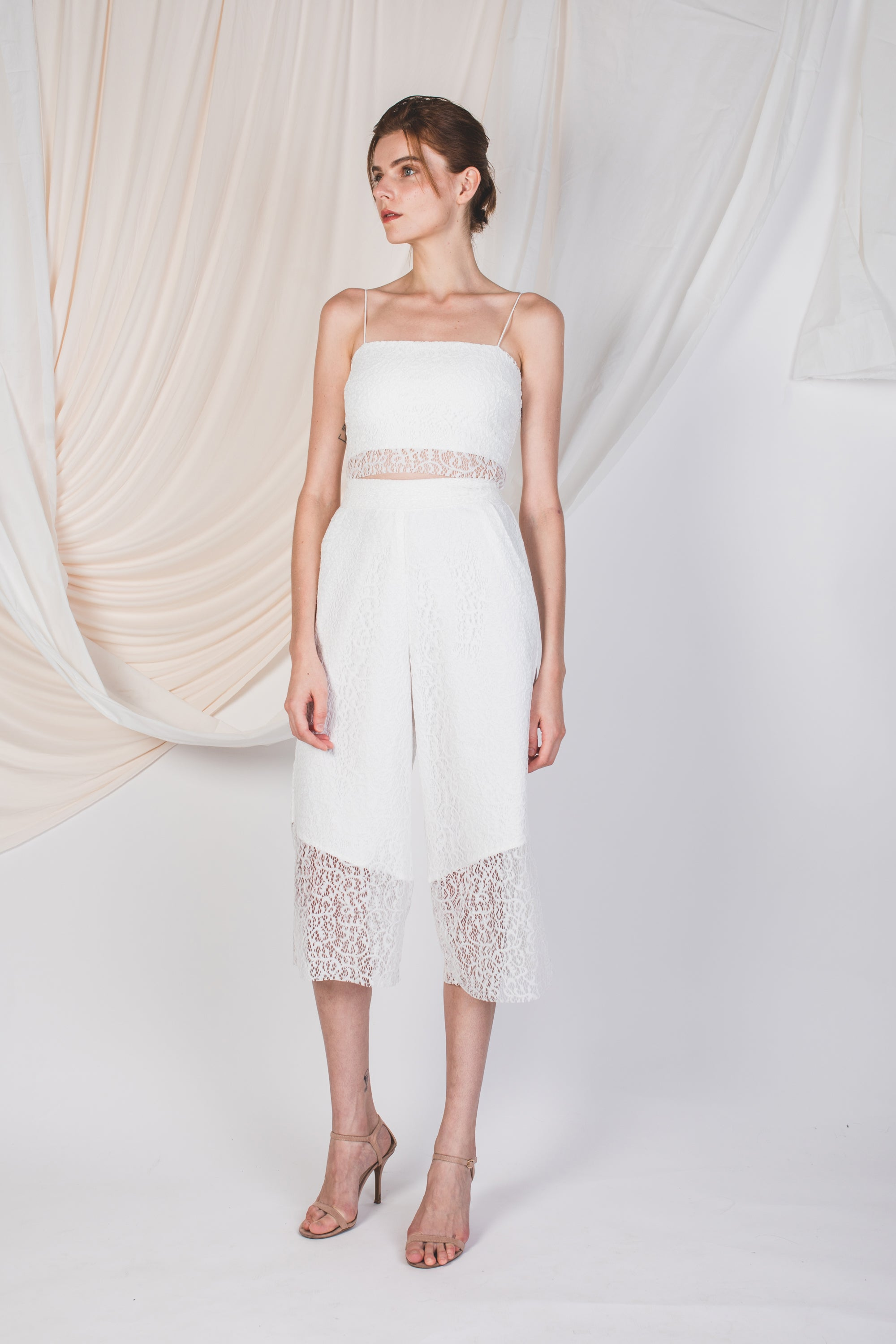 Laced Sheer Panel Culottes in White