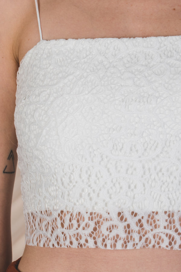 Laced Sheer Panel Cropped Top in White