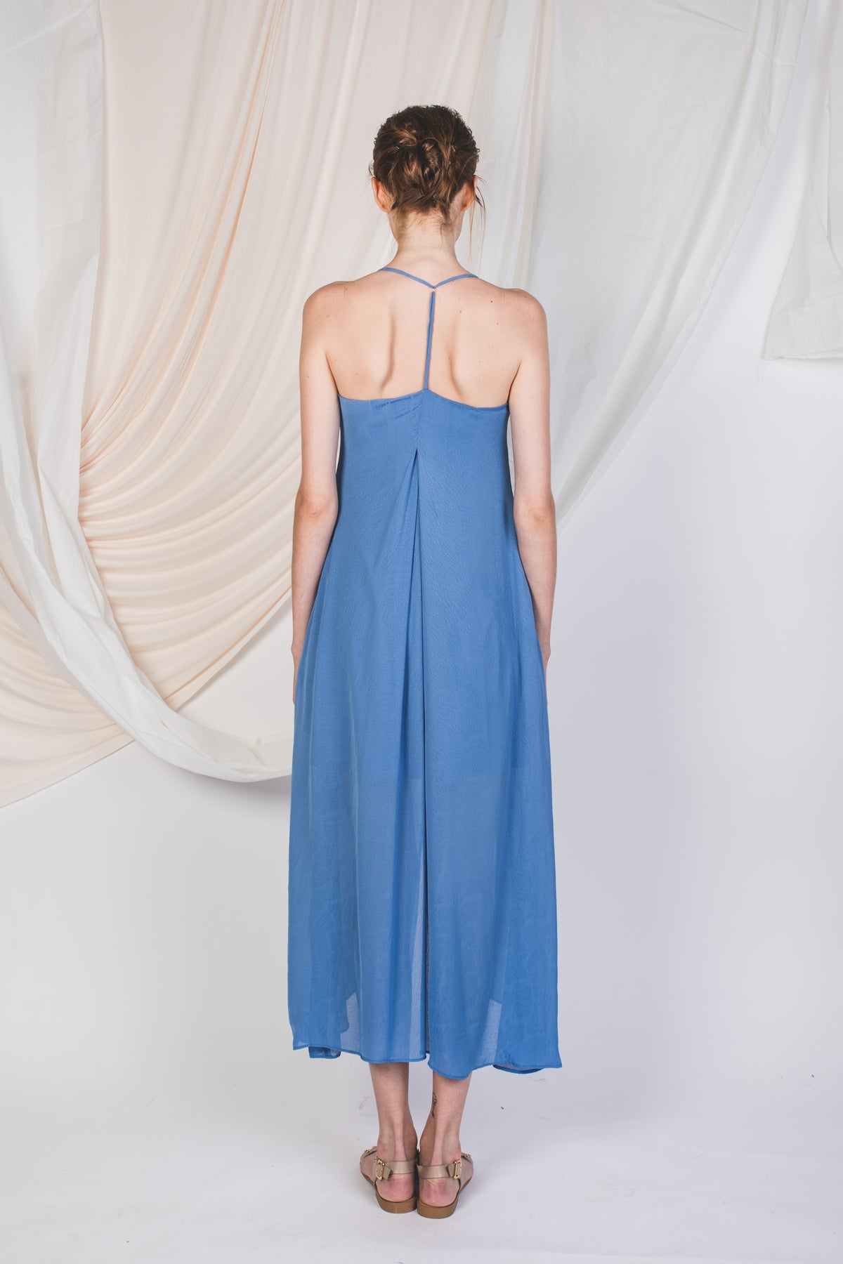 T-Back Printed Maxi Dress in Blue