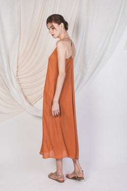 T-Back Printed Maxi Dress in Warm Orange
