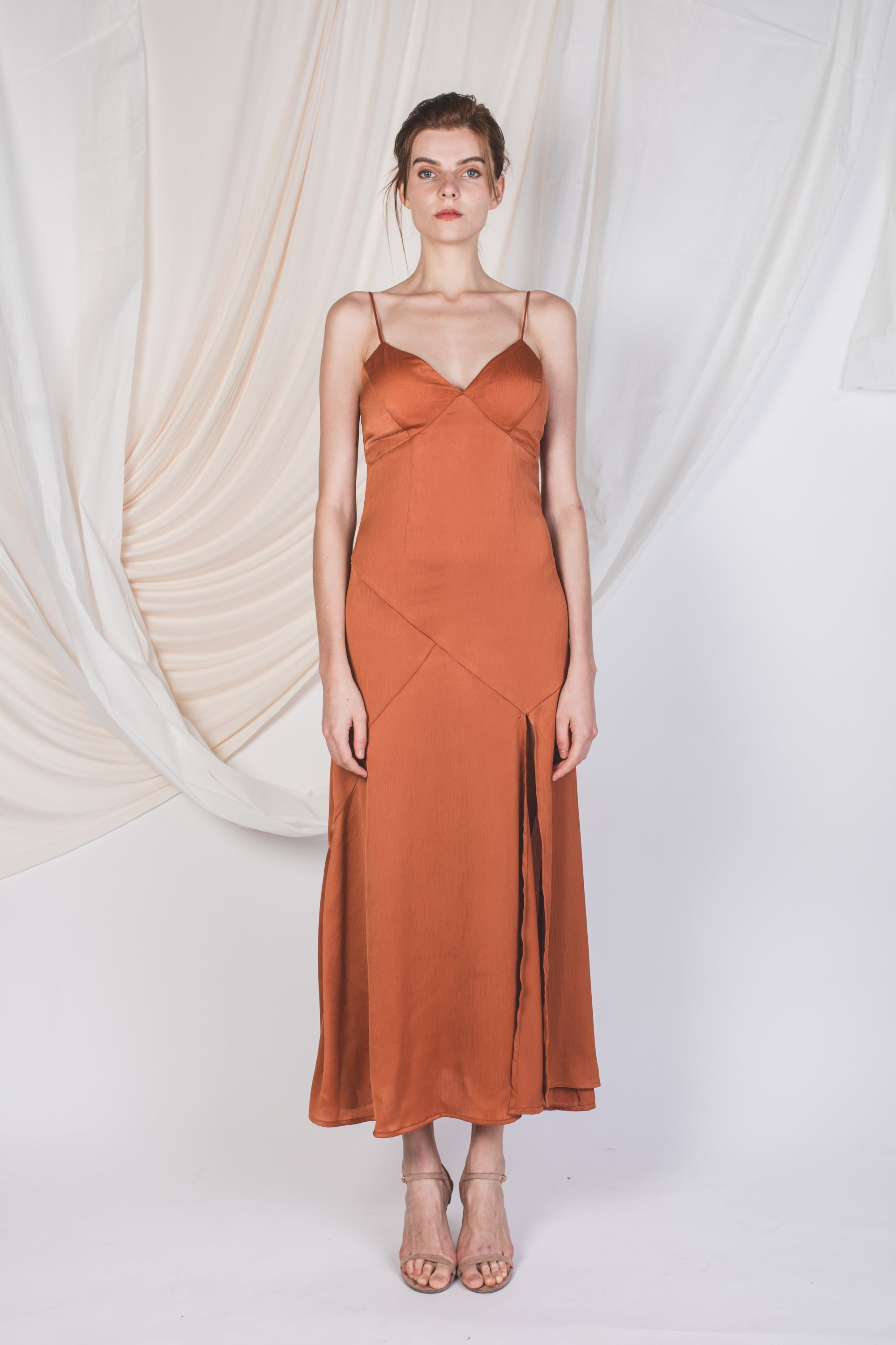 Slit V-Neck Textured Maxi in Tea Rose