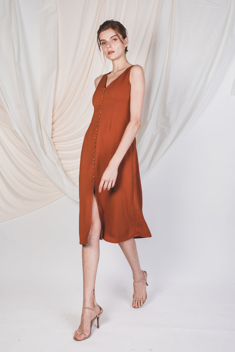 V-neck Slit Dress in Burnt Orange