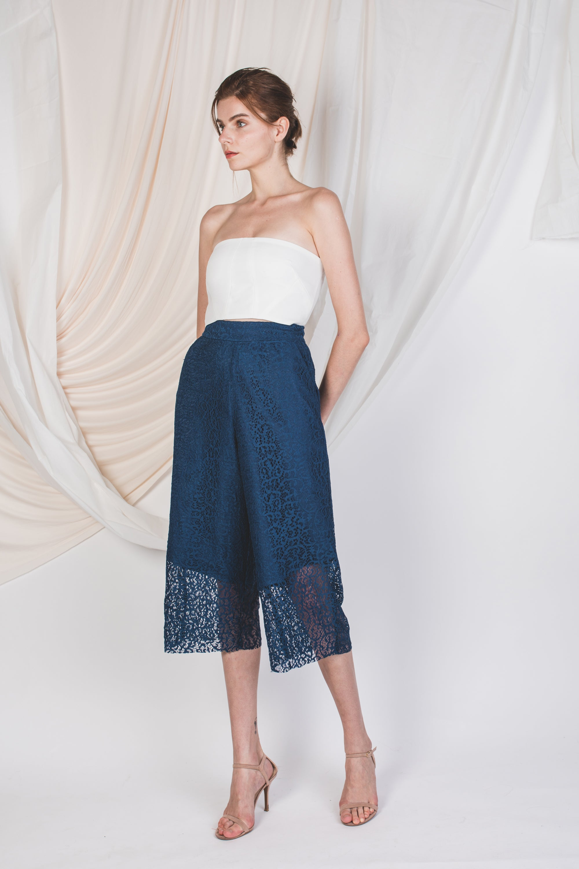 Laced Sheer Panel Culottes in Blue