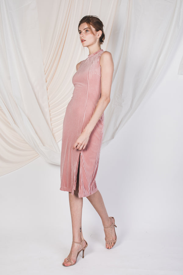 High Neck Velvet Midi In Pink -Sale