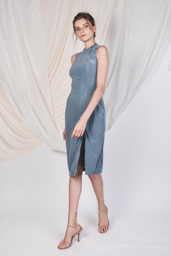 High Neck Velvet Midi in Dusty Blue -Sale