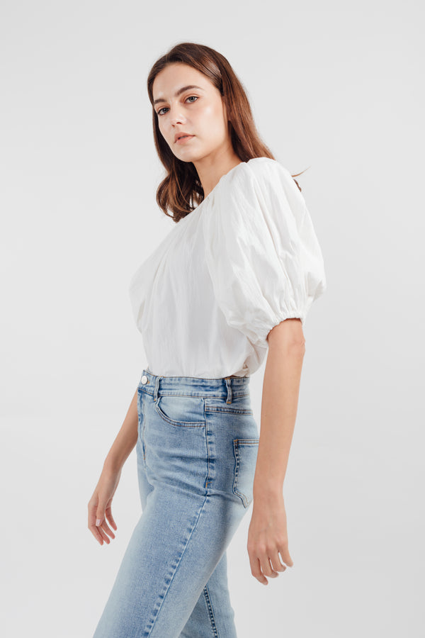 Bubble Sleeve Top in White