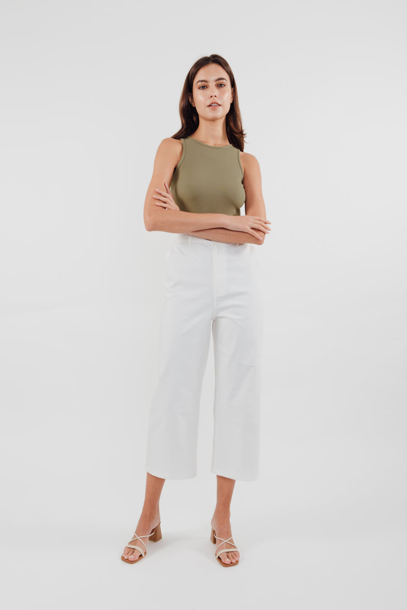 Cropped Culottes in White
