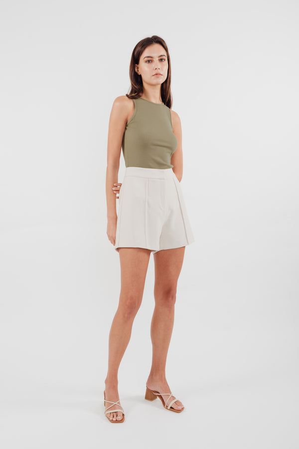 Round High Neck Knit Tank in Olive