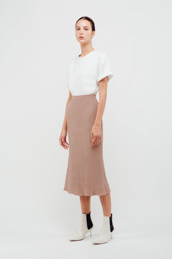 Mermaid Hem Midi Slip Skirt In Powdered Rose
