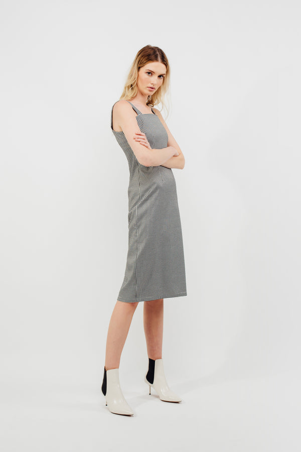Straight Neckline Midi Dress In Gingham