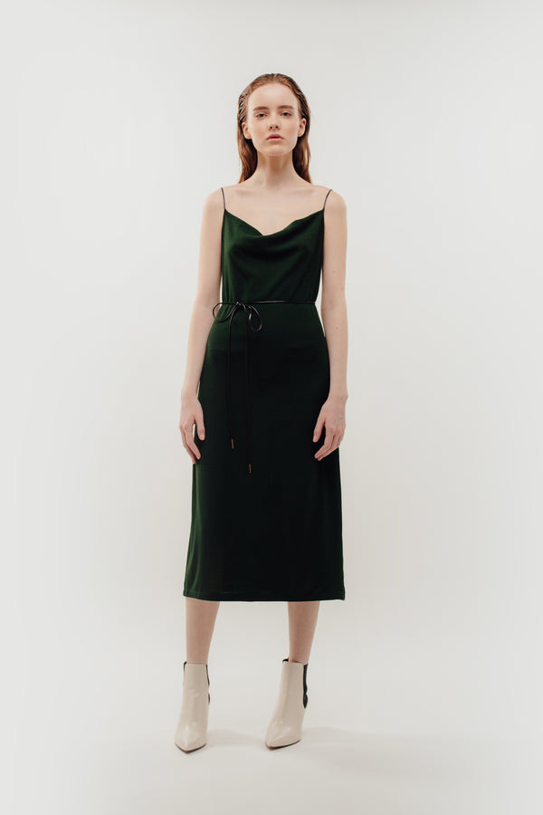 Drape Neckline Knitted Dress In Green