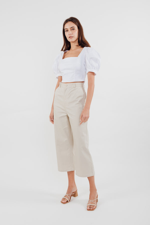 Puffed Sleeved Cropped Top in White