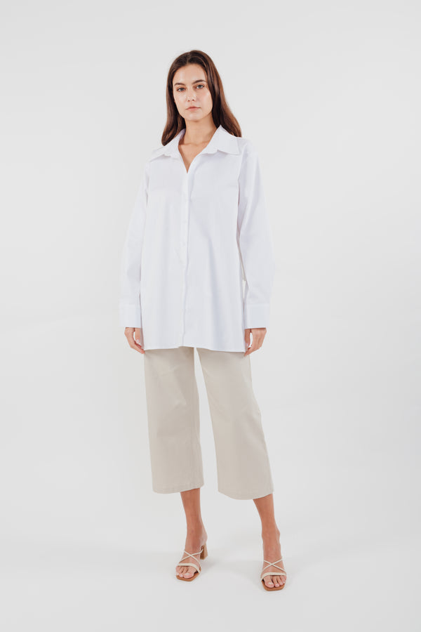 Two-way Cotton Shirt in White