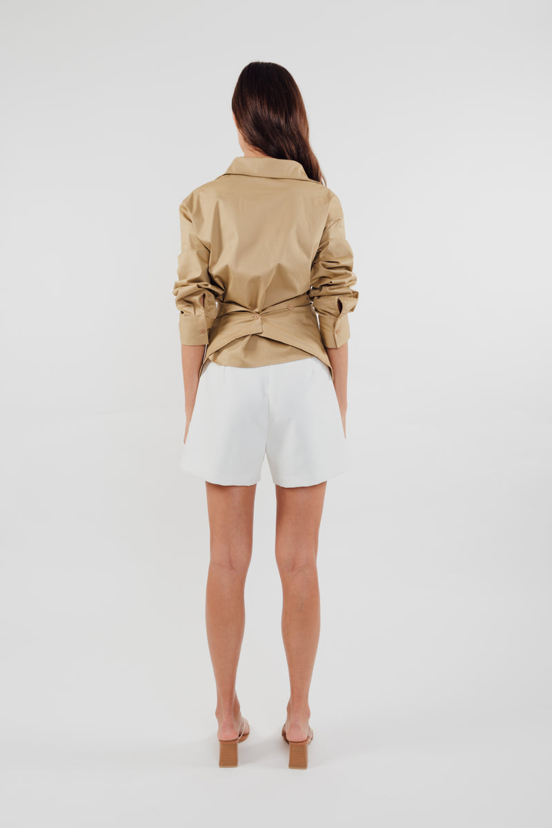 Two-way Cotton Shirt in Camel