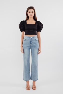 Puffed Sleeved Cropped Top in Black