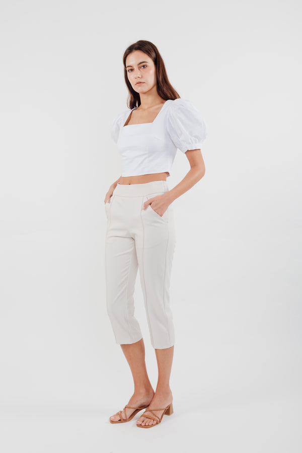 High Waisted Cropped Trousers in Cream