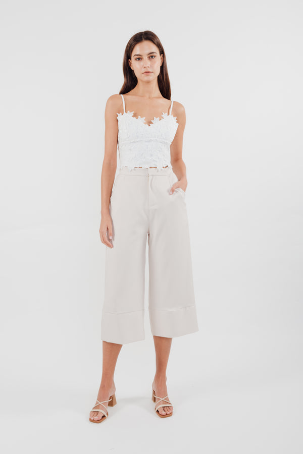 Classic High Waisted Culottes with Hem Detailing in Cream