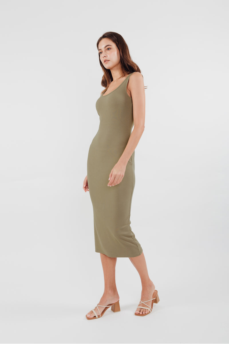 Round Neck Knit Dress in Olive