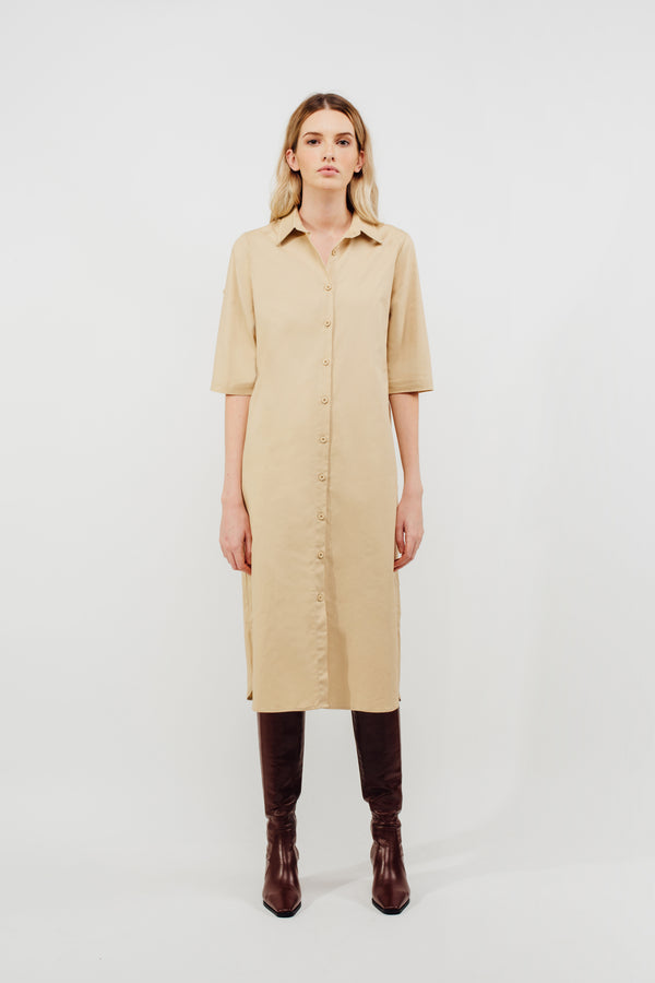 Oversized Buttoned Down Midi Dress With Sash In Sand