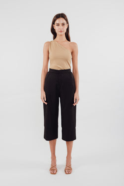Classic High Waisted Culottes with Hem Detailing in Black