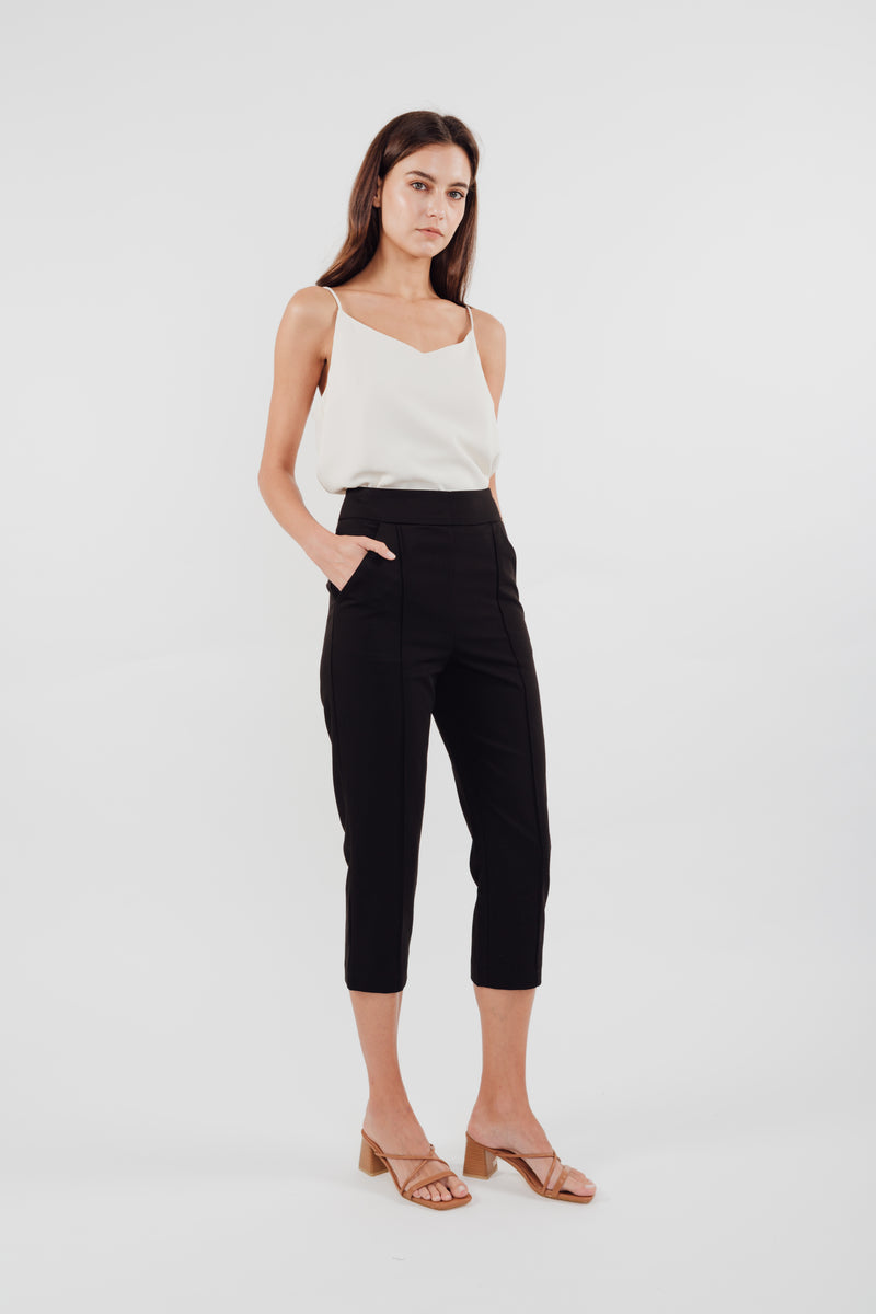 High Waisted Cropped Trousers in Black