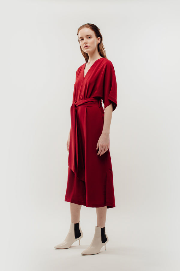 Side Slit Kimono Jumpsuit In Red