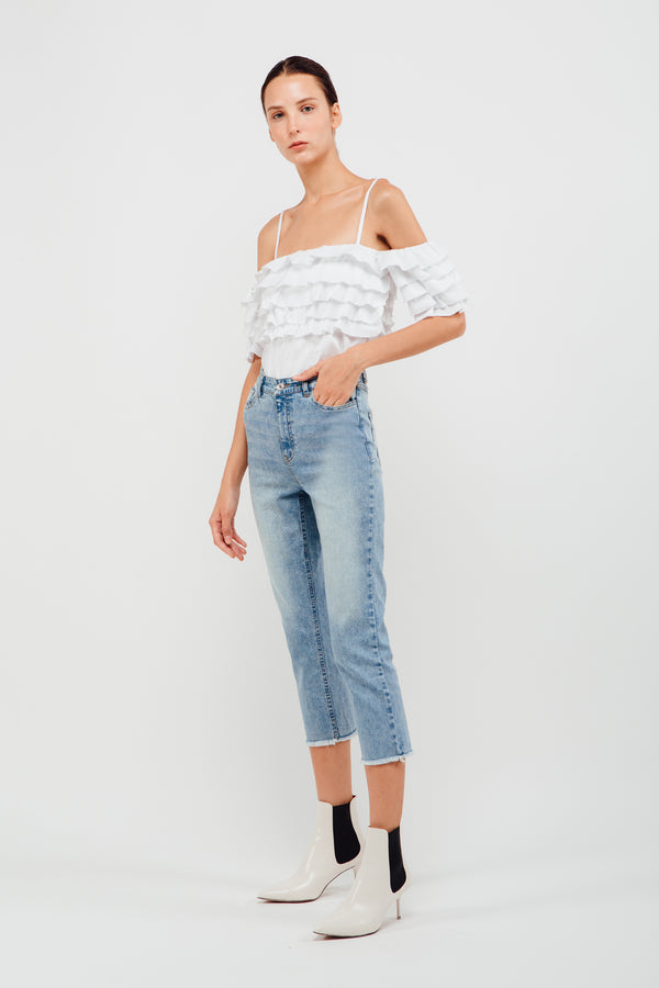 Layered Ruffled Off Shoulder Top In White