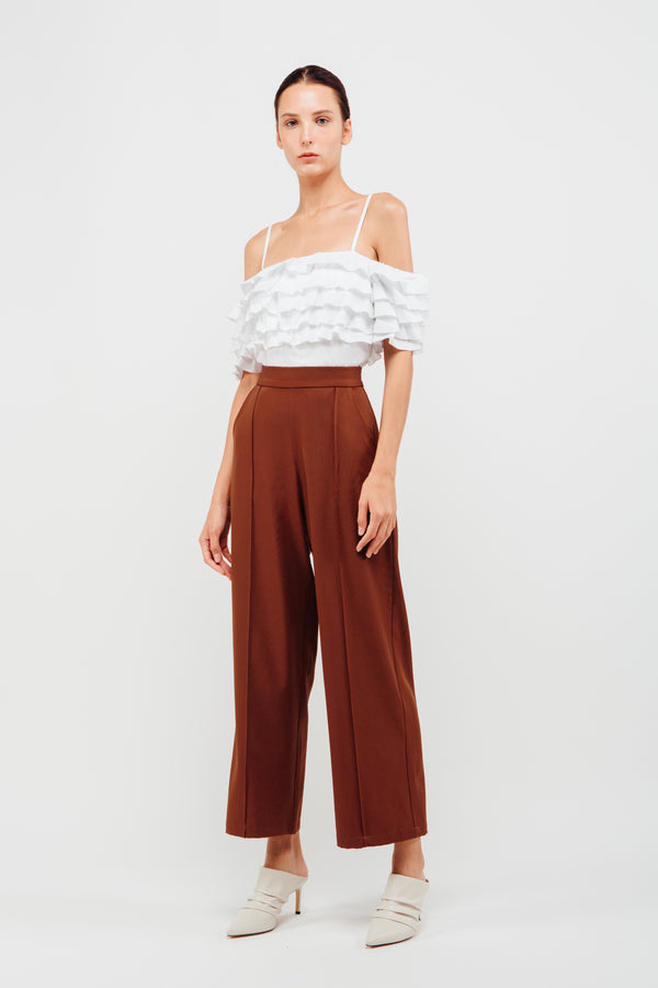 High Waisted Wide Legged Trousers With Foldlines In Mahogany